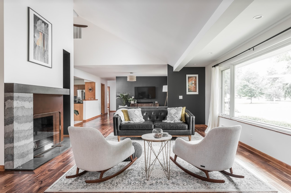 living room with mid century modern design