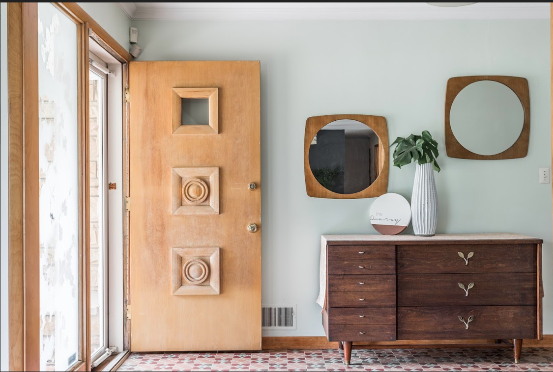 entryway with mid century design